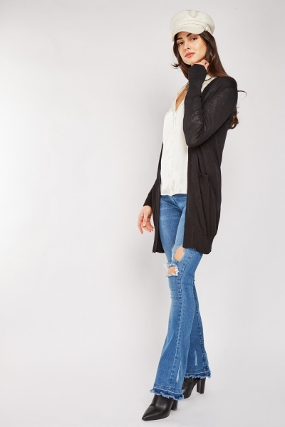 Open Front Sheer Knit Cardigan