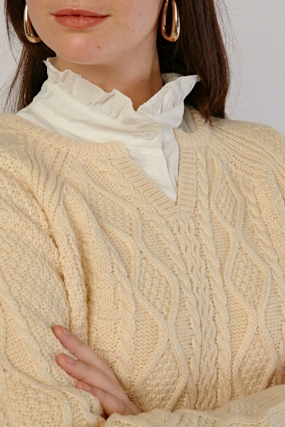 Slit Neck Chunky Knit Jumper
