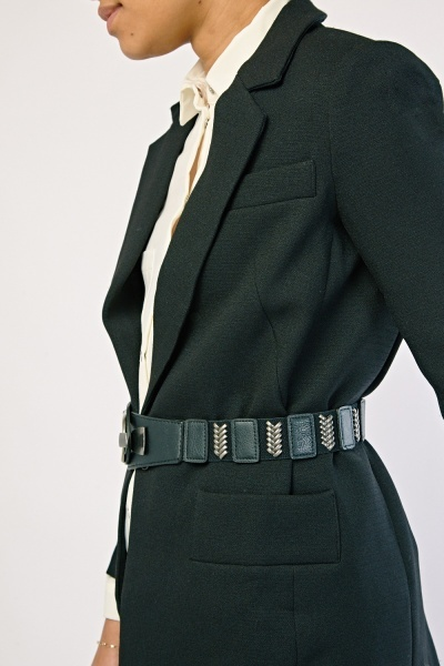 Contrast Metallic Elasticated Belt