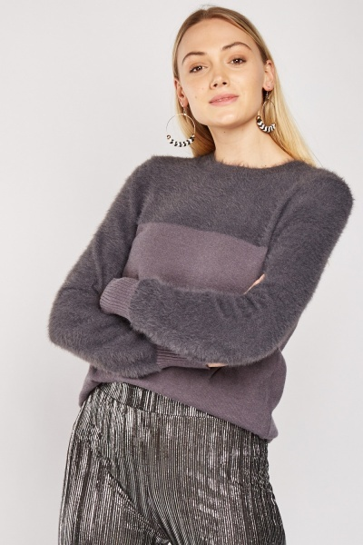 Eyelash Panel Knit Jumper