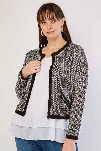 Lurex Distressed Trim Cardigan