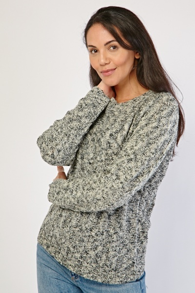 Plaited Speckled Knit Jumper