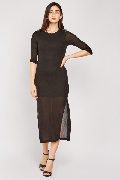 Sheer Rib Knit Midi Dress