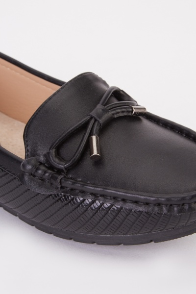 Bow Detail Mock Croc Loafers