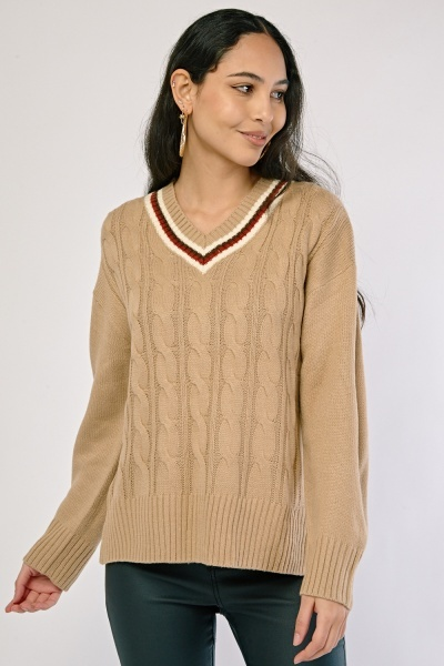 Cable Knit Striped Neck Jumper