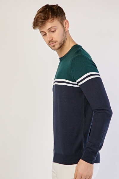 Colour Block Striped Knit Sweater
