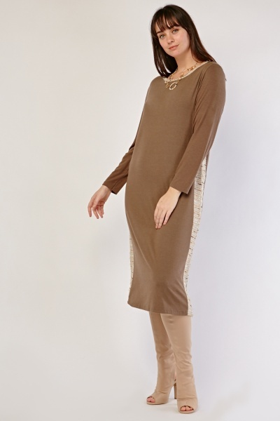 Garter Knit Side Tunic Dress