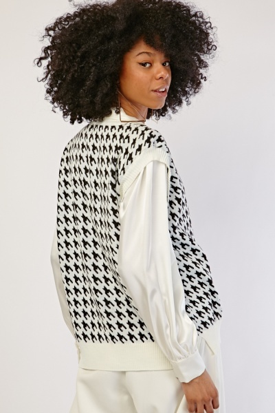 Houndstooth Pattern Knit Pullover