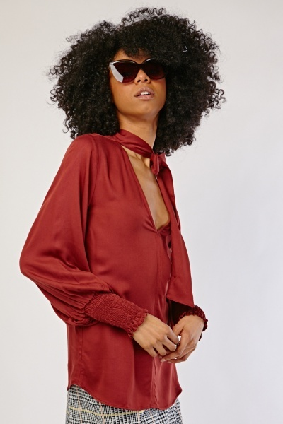 Tie Up Neck Maroon Blouse