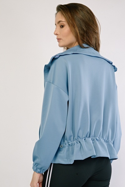 Toggle Zipper Front Jacket