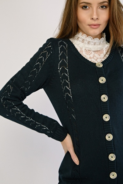Arrow Perforated Pattern Knit Cardigan
