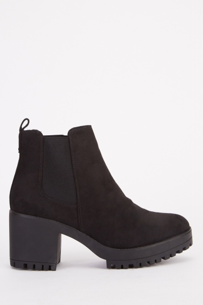 Chunky Suedette Ankle Boots