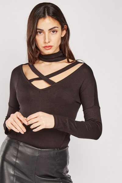 Cross Choker Neck Jersey Top