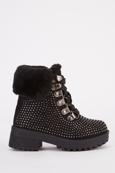 Encrusted Lace Up Kids Boots