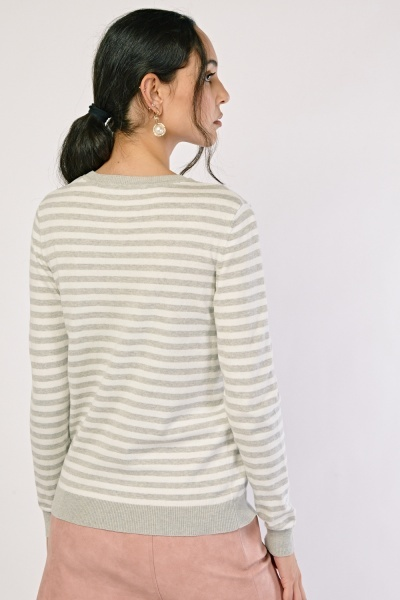 Heart Embroidered Striped Knit Sweater