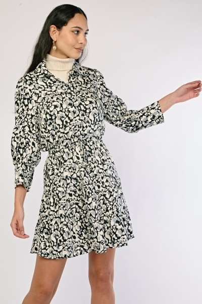 Speckled Print Shirt Dress
