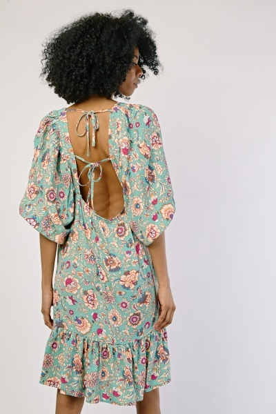 Square Neck Printed Dress