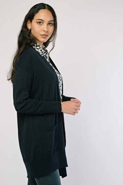 Open Front Long Cotton Cardigan