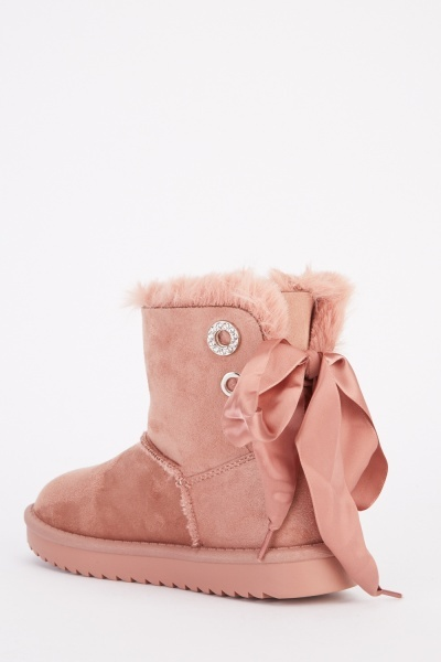 Ribbon Lace Up Suedette Winter Boots