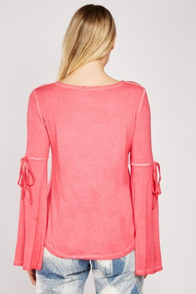 Tie Up Sleeve Detail Top