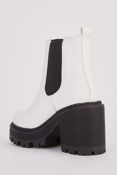 White PU Two Tone Ankle Boots