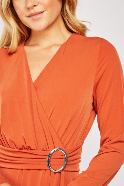 Belted Attached Wrap Dress