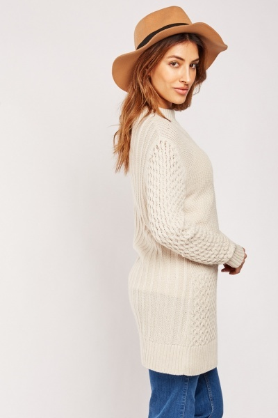 Cable Knit Contrast Jumper