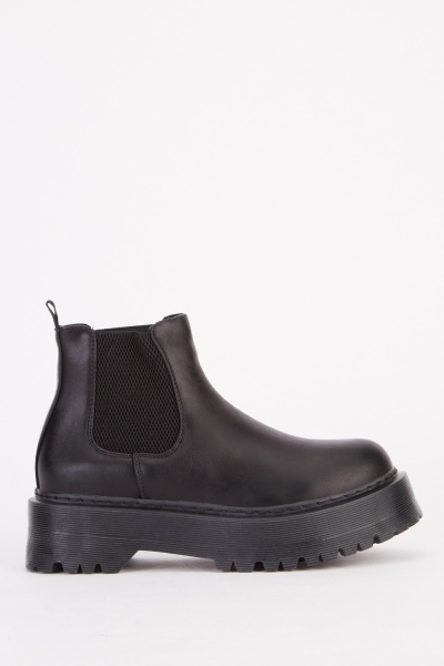 Chunky Black Pu Ankle Boots