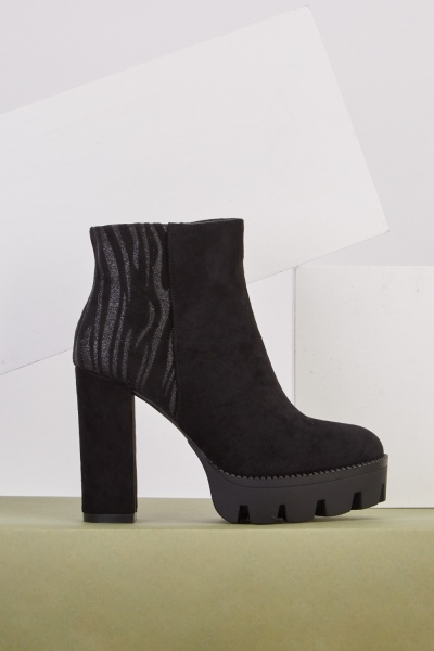 Lurex Suedette Panel Heeled Boots