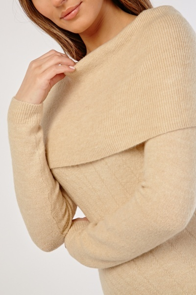 Ribbed Panel Jumper Dress
