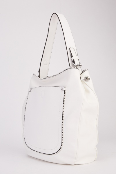 Beaded Trim Faux Leather Bag