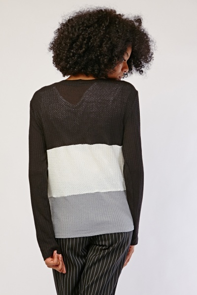 Colour Block Button Front Cardigan