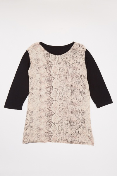 Contrasted Plus Size Snake Skin Print Top