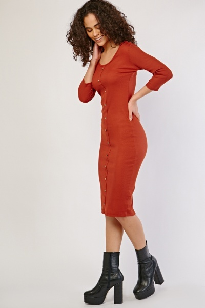 Decorative Button Front Rib Dress