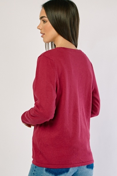 Plain Button Front Knit Cardigan