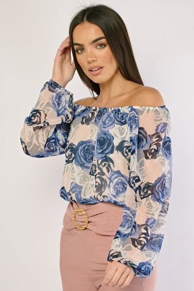Rose Flower Print Off Shoulder Blouse