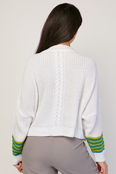 Striped Sleeve Cable Knit Jumper