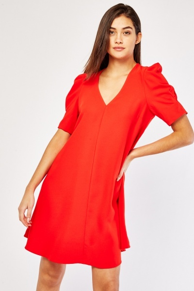 Balloon Sleeve A-Line Dress