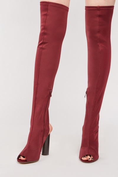 Peep Toe Heeled Over Knee Boots