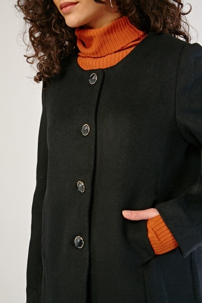 Black Button Front Coat