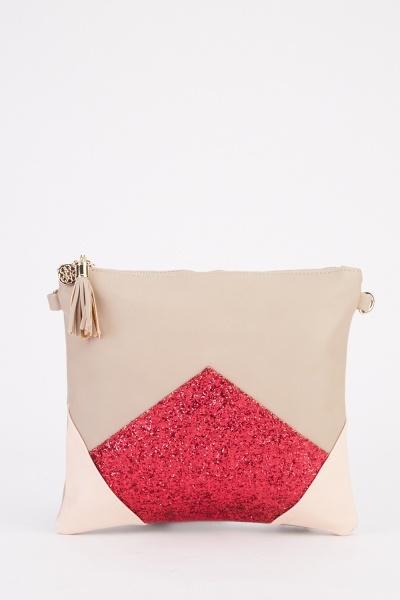 Glitter Colour Block Clutch Bag
