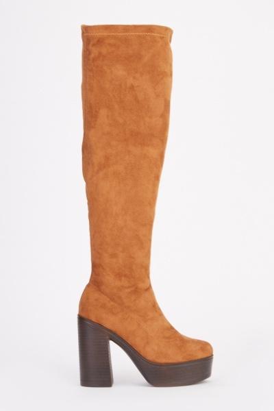 Suedette Platform High Top Boots