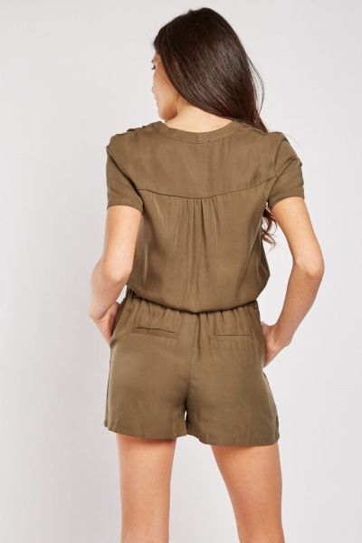 Button Front Utility Playsuit