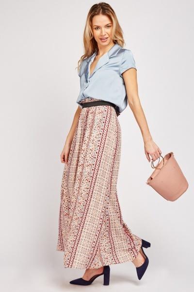Floral Panel Maxi Skirt