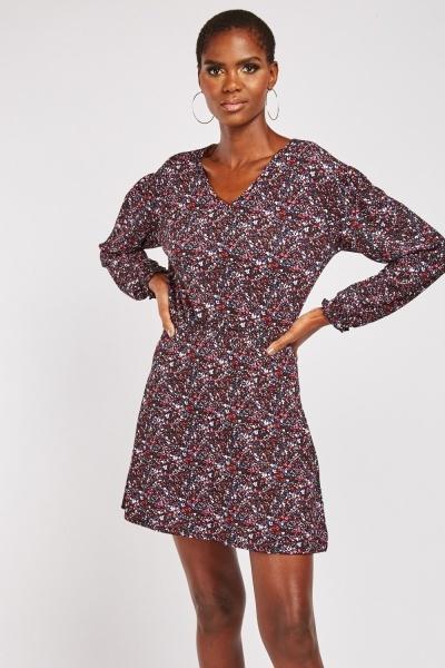 V Neck Mini Calico Print Dress