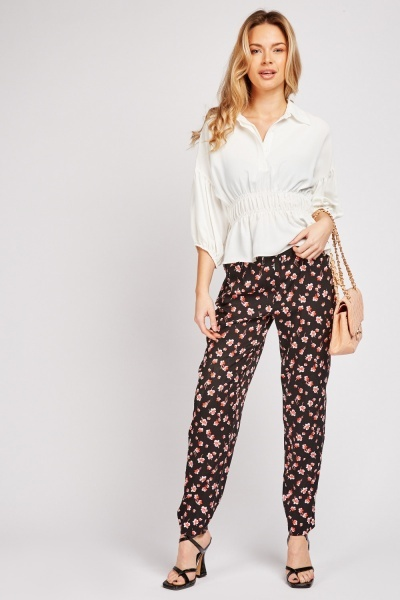 Floral Print Peg Trousers
