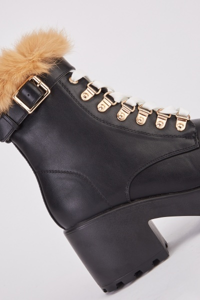 Chunky Lace Up Heeled Boots