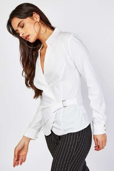 O-Ring Fastening Wrap Front Blouse