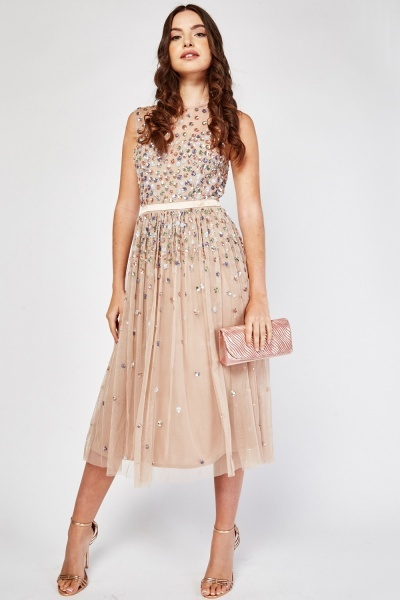 Sequin Mesh Swing Midi Dress