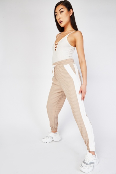 Contrasted Side Ribbed Joggers